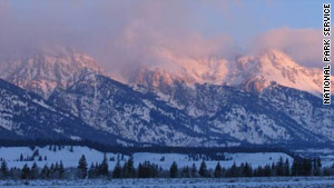 A missing climber went out of sight over a cliff during a storm in Grand Teton National Park.