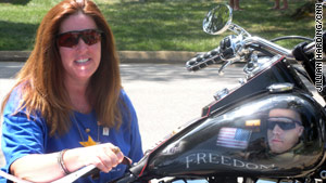 Debbie Higgins' motorcycle carries the image of her son, Lance Cpl. James Higgins Jr., who died in Iraq.