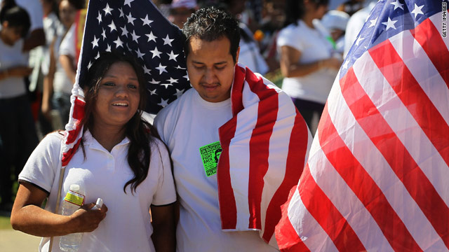 Demonstrators take part in a recent immigration rally in Phoenix, Arizona. More protests are expected this week.