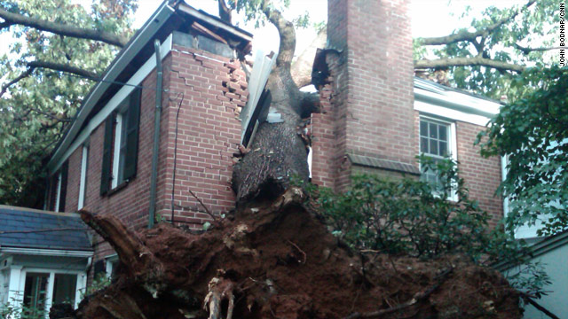 A house in Washington shows major damage where a tree hit it during a violent storm on Sunday.