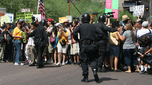 Demonstrators arrested outside the office of Maricopa County sheriff