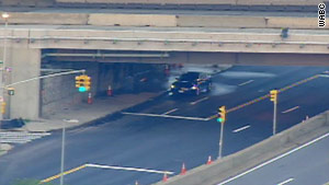 Police are investigating a vehicle parked under Throgs Neck Bridge, which connects the Bronx and Queens in New York.
