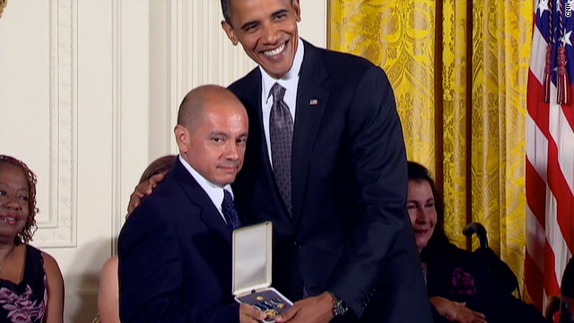 President Obama awards Jorge Munoz the Presidential Citizens Medal at the White House on Wednesday.