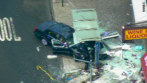 The limousine-style cab crashed into a bus stop, killing one person.