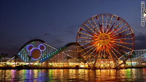 A man at Disney's California Adventure Park fell 25 to 30 feet after climbing over a barrier, officials said Thursday.