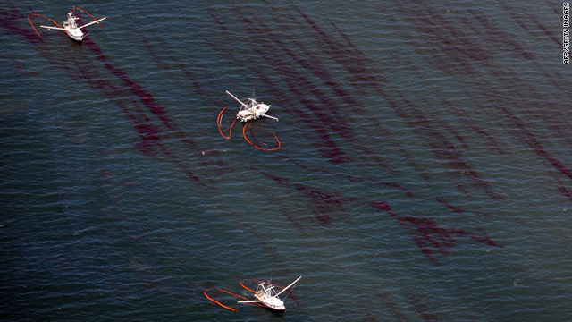 Oil can be seen in the water in the Gulf of Mexico earlier this summer. A new study says microbes are consuming the oil.