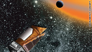 A drawing of the Kepler space telescope on its hunt for Earth-like planets.