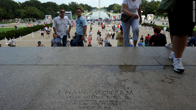 "People visit the Lincoln Memorial on Friday, a day before Glenn Beck's ""Restoring Honor"" rally."