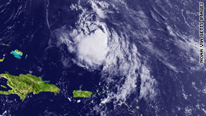 Satellite photo of Tropical Storm Fiona; it's expected to further weaken as it approaches Bermuda.