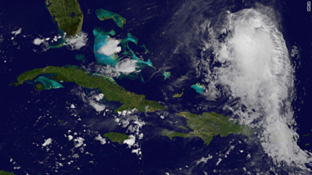 A satellite image early Friday shows Tropical Storm Fiona north of the Dominican Republic.