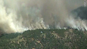 In Colorado's Four Mile Canyon region, 45-mph winds are helping to spread the flames of a 3,000-acre wildfire.