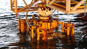 This image shows the damaged blowout preventer along with the lower marine riser package.