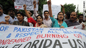 Pakistani Christians in Lahore protest Thursday plans by a pastor of a small Florida church to burn Qurans.