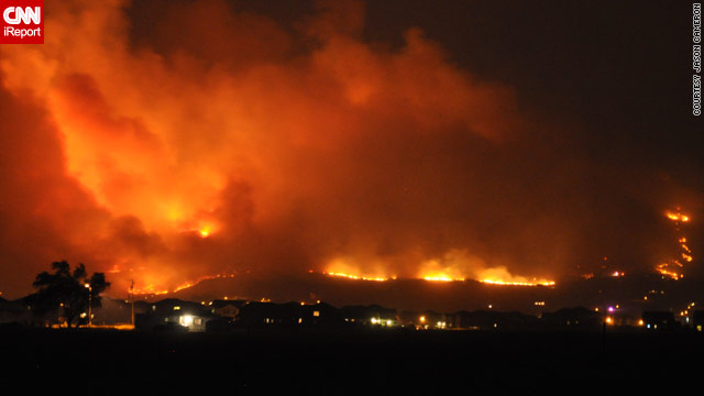 iReporter Jason Cameron captured this photo of the massive wildfire from Herriman, Utah, on Sunday.