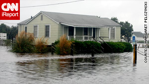 A house in Carolina Beach, North Carolina, after Tropical Storm Nicole on September 30.