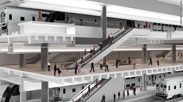 This is an artist's rendering of a new New York Penn Station expansion cavern.