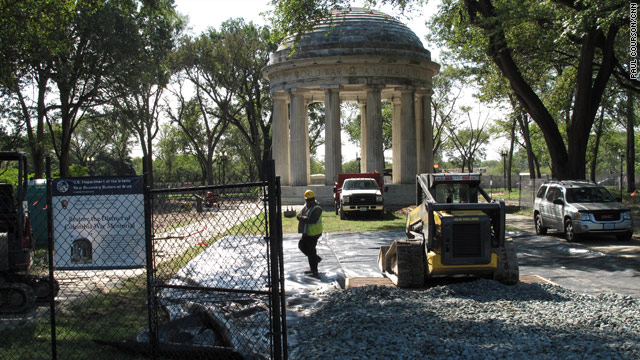 Workers have been clearing away overgrown brush and removing trees obscuring the World War I Memorial on the National Mall.