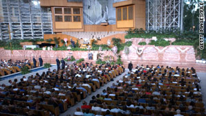 The Crystal Cathedral's main sanctuary seats 2,736 people, according to the megachurch's website.