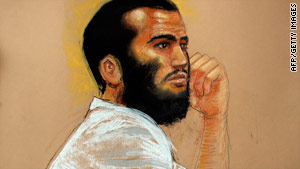 Omar Khadr, shown in a courtroom sketch from early August, was 15 when he was captured in Afghanistan in 2002.