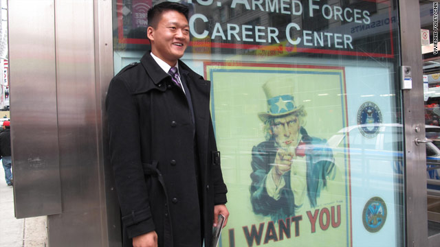Former Army Lt. Dan Choi, who is openly gay, goes Wednesday to a Times Square recruiting office in New York to re-enlist.