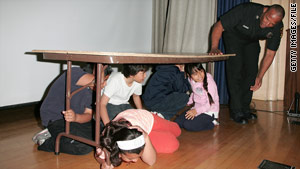 Fourth-graders particpate in an earthquake drill in March in Los Angeles, California.