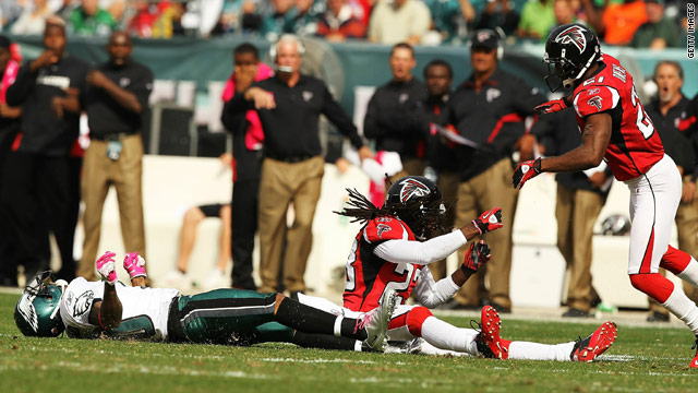 DeSean Jackson, flattened from a tough tackle, was helped off the field last weekend.