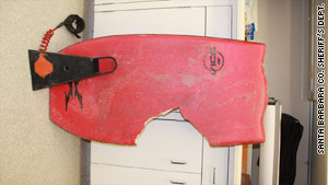 Authorities released a picture of the board that Lucas Ransom was riding when a shark attacked on Friday.