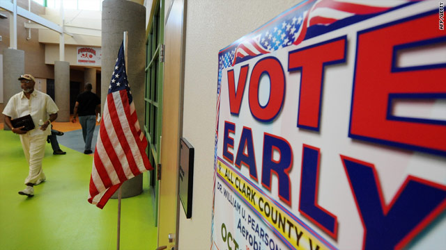 A man arrives to vote in Las Vegas, Nevada, on October 16 as part of the state's two-week early voting period.