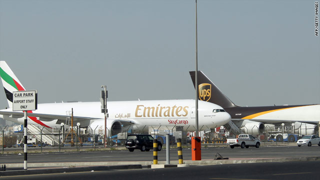 Airliners sit on the tarmac at Dubai airport Oct. 31, a day after a parcel bomb was intercepted in Dubai originating in Yemen.