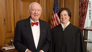 John Paul Stevens, shown last month with Justice Elena Kagan, is calling for religious and ethnic tolerance.