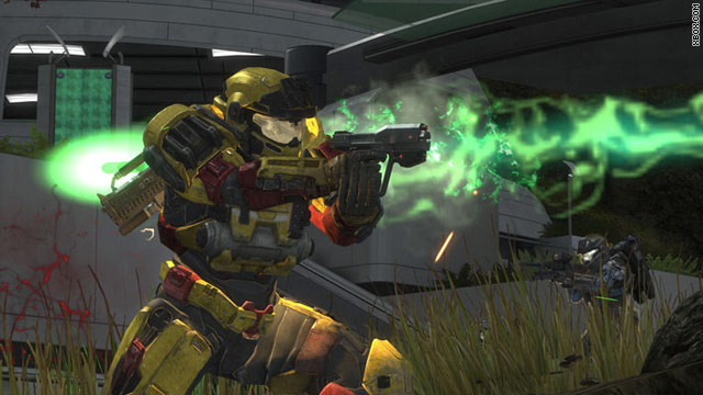 "Gun-toting soldiers take on aliens in ""Halo: Reach."""