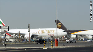Airliners sit on the tarmac at Dubai airport after a parcel bomb was intercepted in Dubai originating in Yemen.