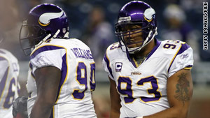 Vikings players Pat Williams, left, and Kevin Williams were banned for four games after testing positive for a diuretic.