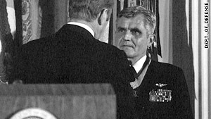 James Stockdale receives the Medal of Honor from President Ford on March 4, 1976.