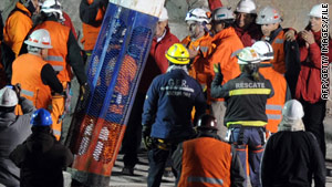 One of the rescuers prepares to descend nearly a half-mile to 33 miners trapped in Chile on October 12.