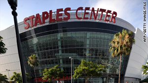 The luxury suite is on the Staples Center's third deck, which has a roughly 50-foot drop, KTLA-TV reports.