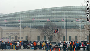 Fans tailgate outside Soldier Field in Chicago, Illinois, in 2007.