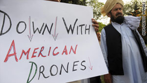 Pakistani Senator Mohammad Saleh Shah protests near parliament in Islamabad in 2009 against U.S. drone attacks.
