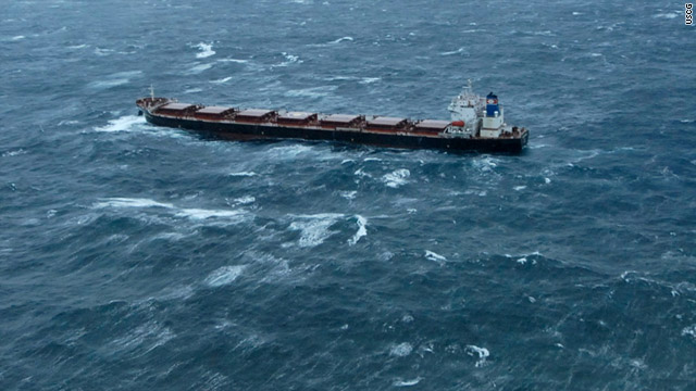 The 783-foot Golden Seas, with a full load of canola seed, has struggled to keep from running aground since Friday.