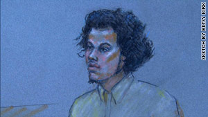 A sketch shows Antonio Martinez, accused of trying to attack a military recruiting center, at his arraignment Wednesday.