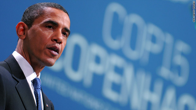 President Obama speaks at COP15, the 2009 UN climate summit in Copenhagen, Denmark.