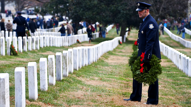 This wreath-laying event and hundreds of others across the country were organized by Wreaths Across America.
