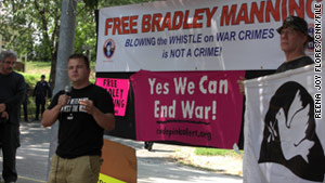 Activists protest Pfc. Bradley Manning's detention in August outside a Marine Corps base in Quantico, Virginia.