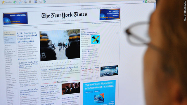 The New York Times website is one of three newspaper websites that the Air Force is blocking.