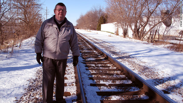 In Watertown, Wisconsin, Mayor Ron Krueger stands where a proposed train station was to be built.