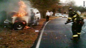 The SUV caught fire after the driver hit a tree, CNN affiliate WSOC reports.