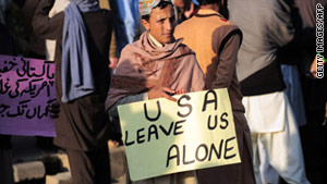 Pakistanis in Islamabad on December 10 protest U.S. drone attacks in Waziristan.