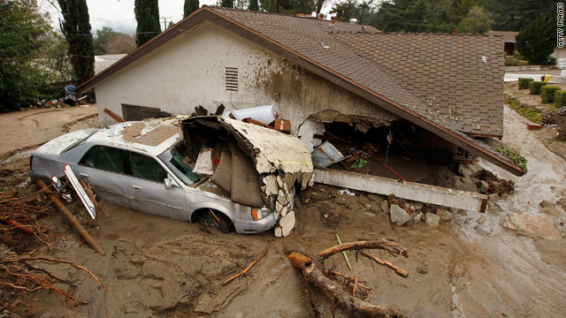 Heavy weekend rains caused mudslides and damaged houses in La Canada Flintridge, California.