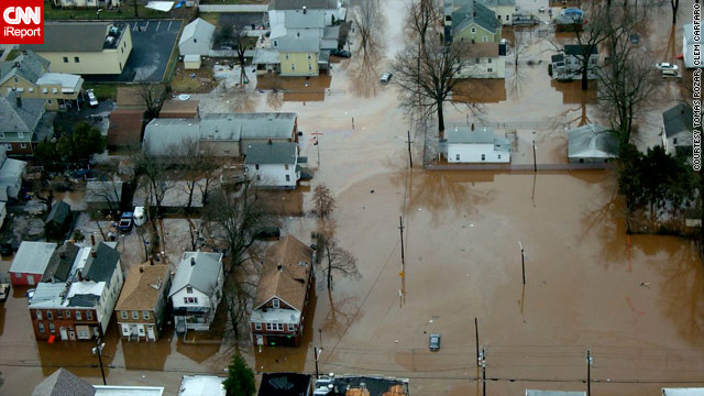 CNN iReporters Tomas Rozar and Clem Carfaro provided this aerial image of flooding in Bound Brook, New Jersey.