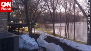 CNN iReporter Jennifer Sondag snapped these sandbags in a backyard Thursday in Moorhead, Minnesota.